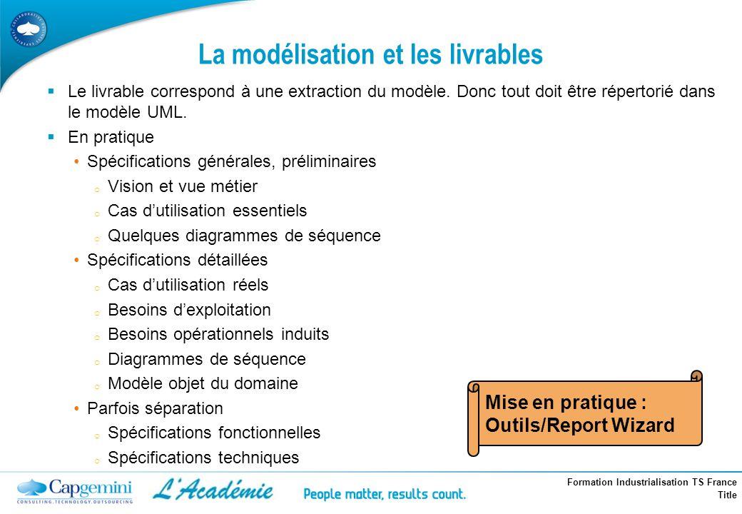 Formation Industrialisation TS France Title La modélisation et les livrables Le livrable correspond à une extraction du modèle. Donc tout doit être ré