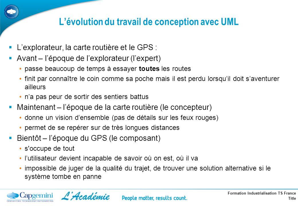 Formation Industrialisation TS France Title Lévolution du travail de conception avec UML Lexplorateur, la carte routière et le GPS : Avant – lépoque d