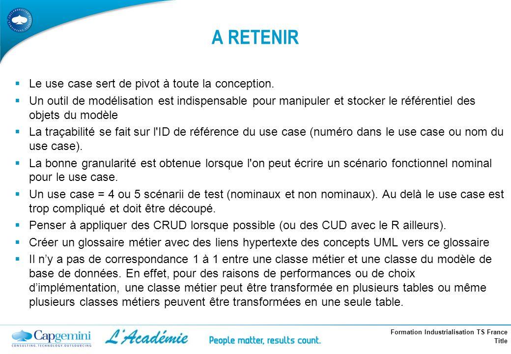 Formation Industrialisation TS France Title A RETENIR Le use case sert de pivot à toute la conception. Un outil de modélisation est indispensable pour