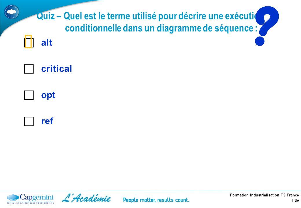 Formation Industrialisation TS France Title Quiz – Quel est le terme utilisé pour décrire une exécution conditionnelle dans un diagramme de séquence :