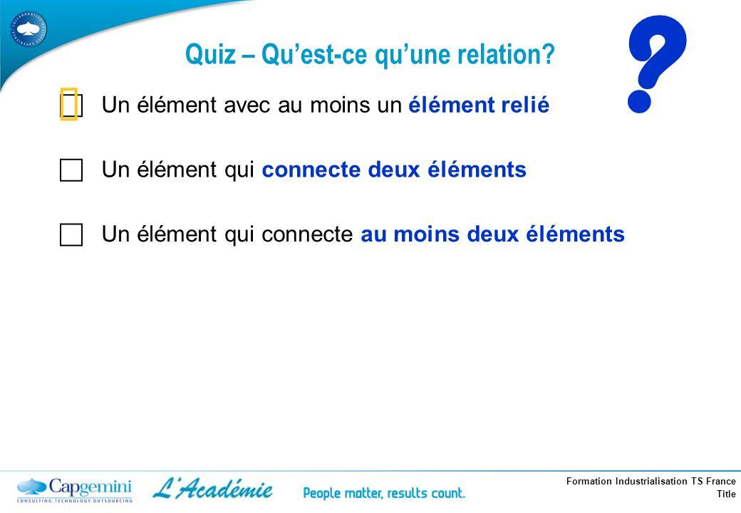 Formation Industrialisation TS France Title Quiz – Quest-ce quune relation? ? Un élément avec au moins un élément relié Un élément qui connecte deux é