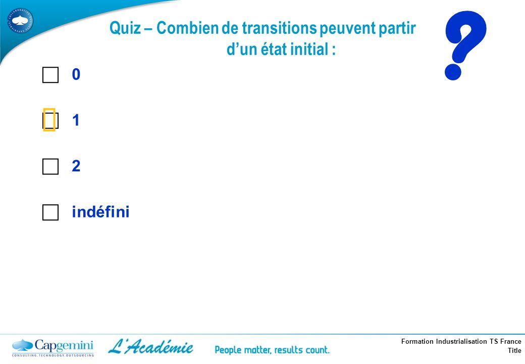 Formation Industrialisation TS France Title ? 0 1 2 indéfini Quiz – Combien de transitions peuvent partir dun état initial :