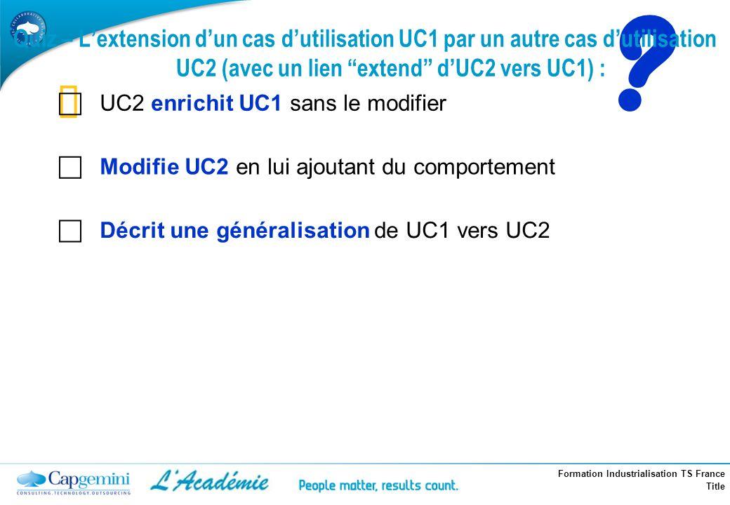 Formation Industrialisation TS France Title ? Quiz – Lextension dun cas dutilisation UC1 par un autre cas dutilisation UC2 (avec un lien extend dUC2 v