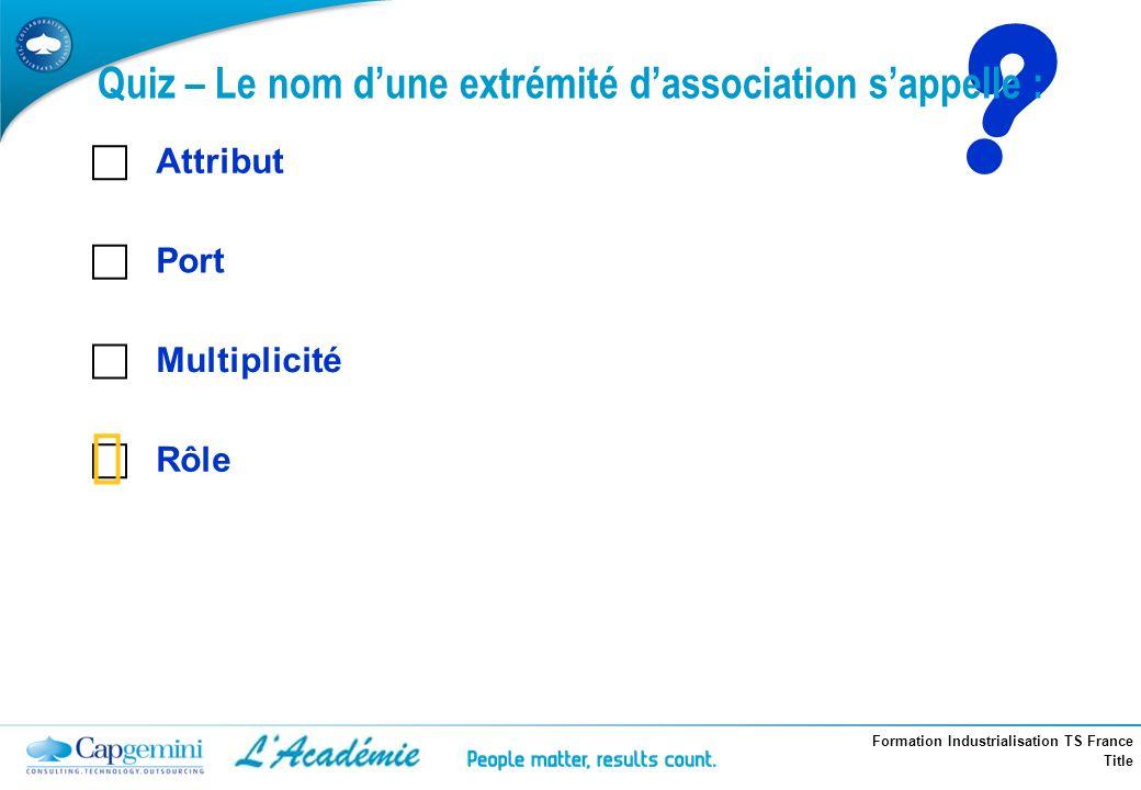 Formation Industrialisation TS France Title ? Attribut Port Multiplicité Rôle Quiz – Le nom dune extrémité dassociation sappelle :