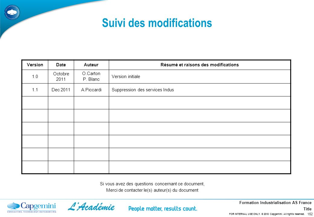 Formation Industrialisation AS France Title VersionDateAuteurRésumé et raisons des modifications 1.0 Octobre 2011 O.Carton P. Blanc Version initiale 1