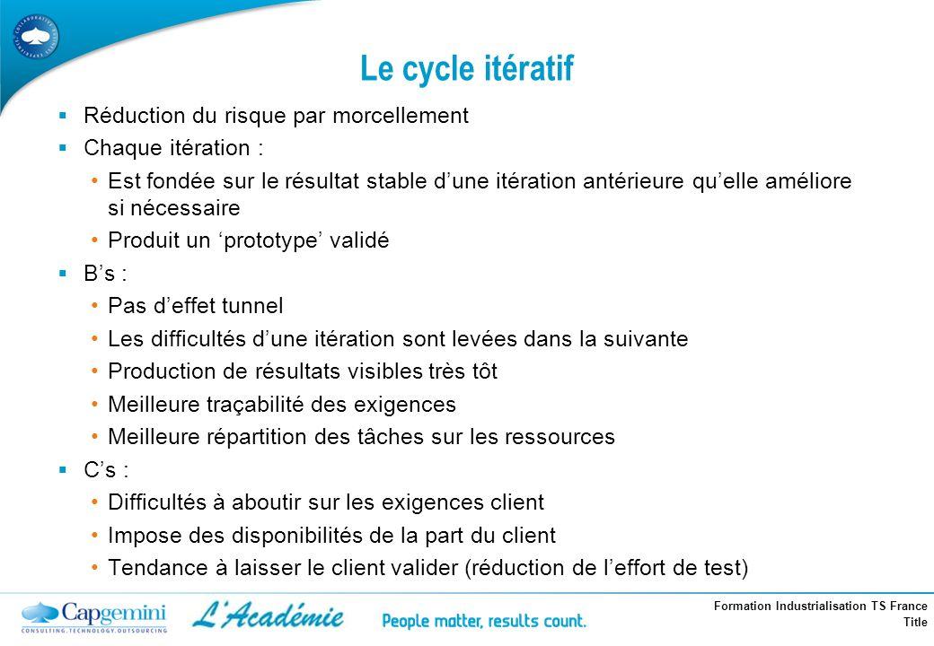 Formation Industrialisation TS France Title Le cycle itératif Réduction du risque par morcellement Chaque itération : Est fondée sur le résultat stabl