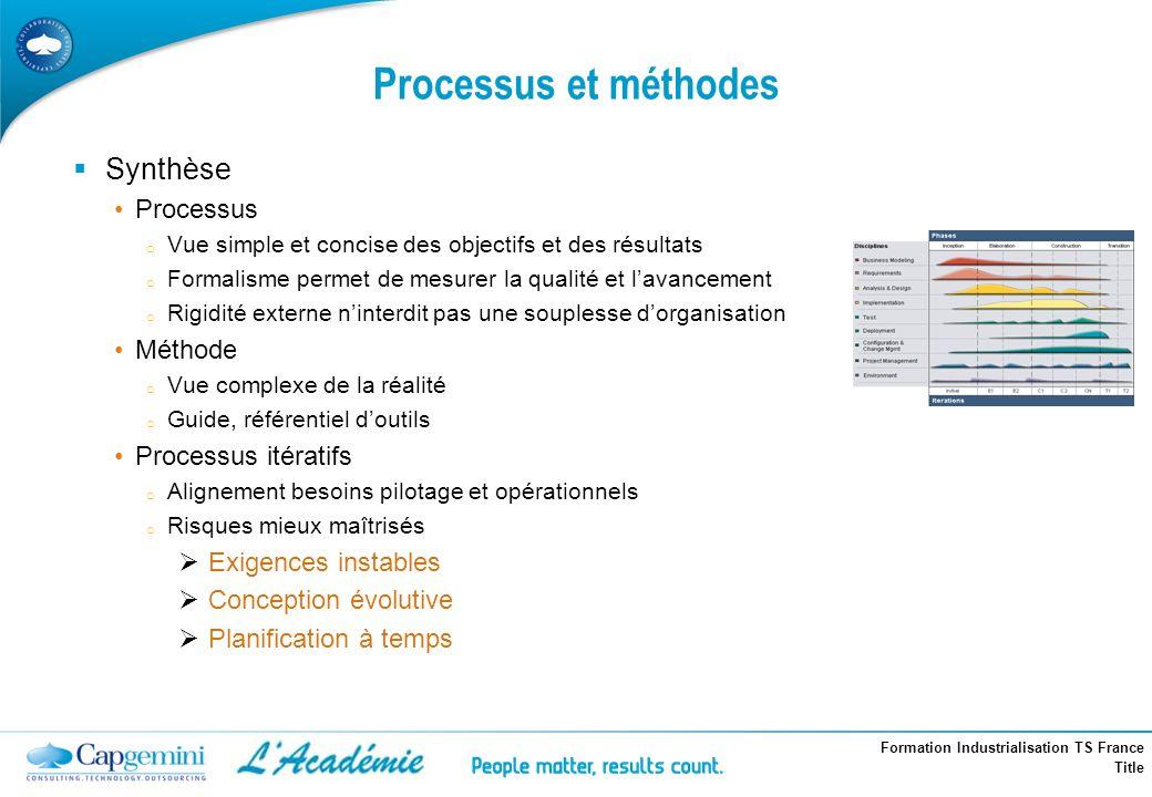 Formation Industrialisation TS France Title Processus et méthodes Synthèse Processus o Vue simple et concise des objectifs et des résultats o Formalis