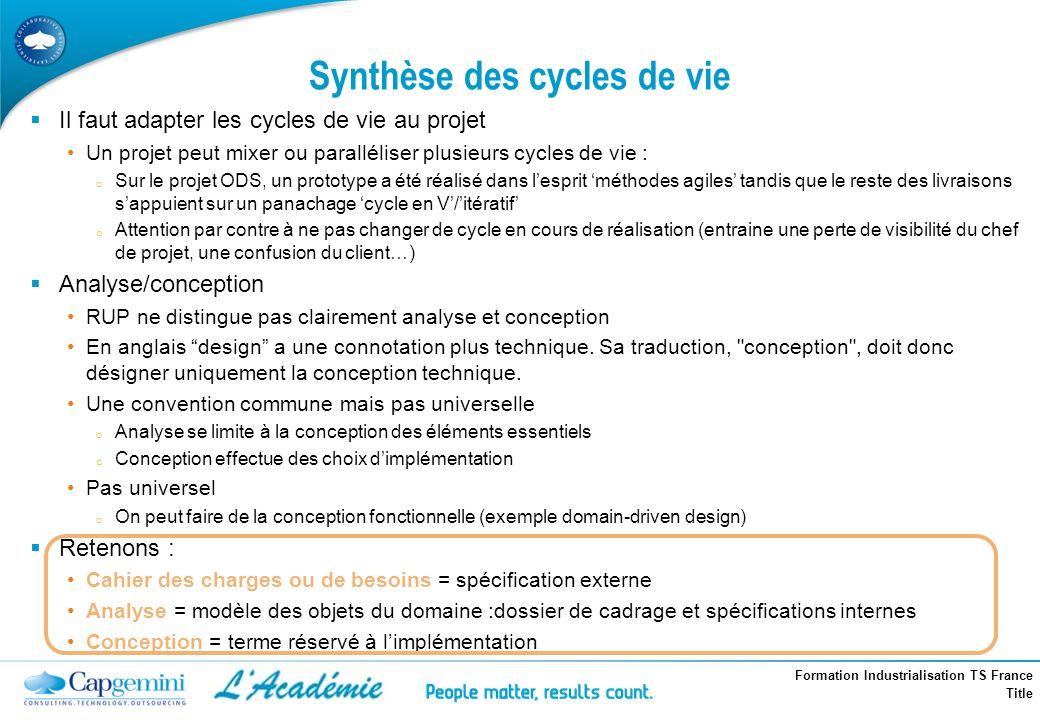 Formation Industrialisation TS France Title Synthèse des cycles de vie Il faut adapter les cycles de vie au projet Un projet peut mixer ou parallélise