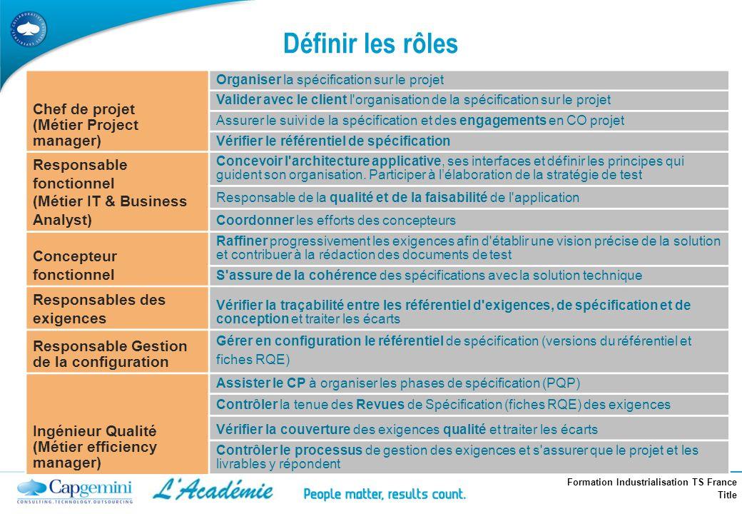 Formation Industrialisation TS France Title Définir les rôles Chef de projet (Métier Project manager) Organiser la spécification sur le projet Valider