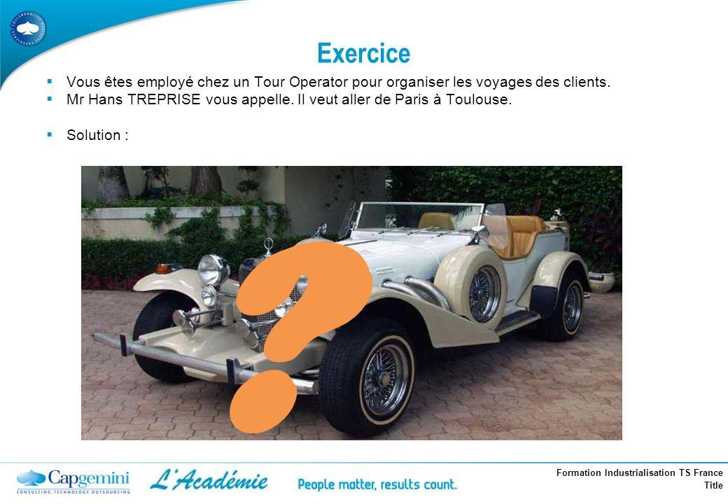 Formation Industrialisation TS France Title Exercice Vous êtes employé chez un Tour Operator pour organiser les voyages des clients. Mr Hans TREPRISE