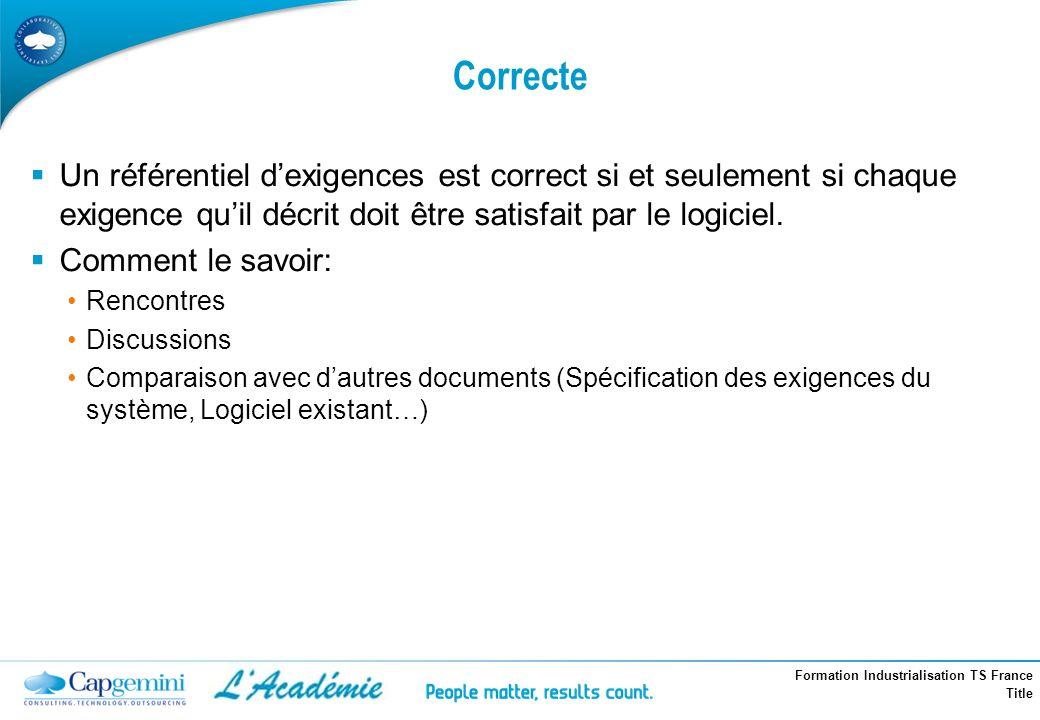 Formation Industrialisation TS France Title Correcte Un référentiel dexigences est correct si et seulement si chaque exigence quil décrit doit être sa