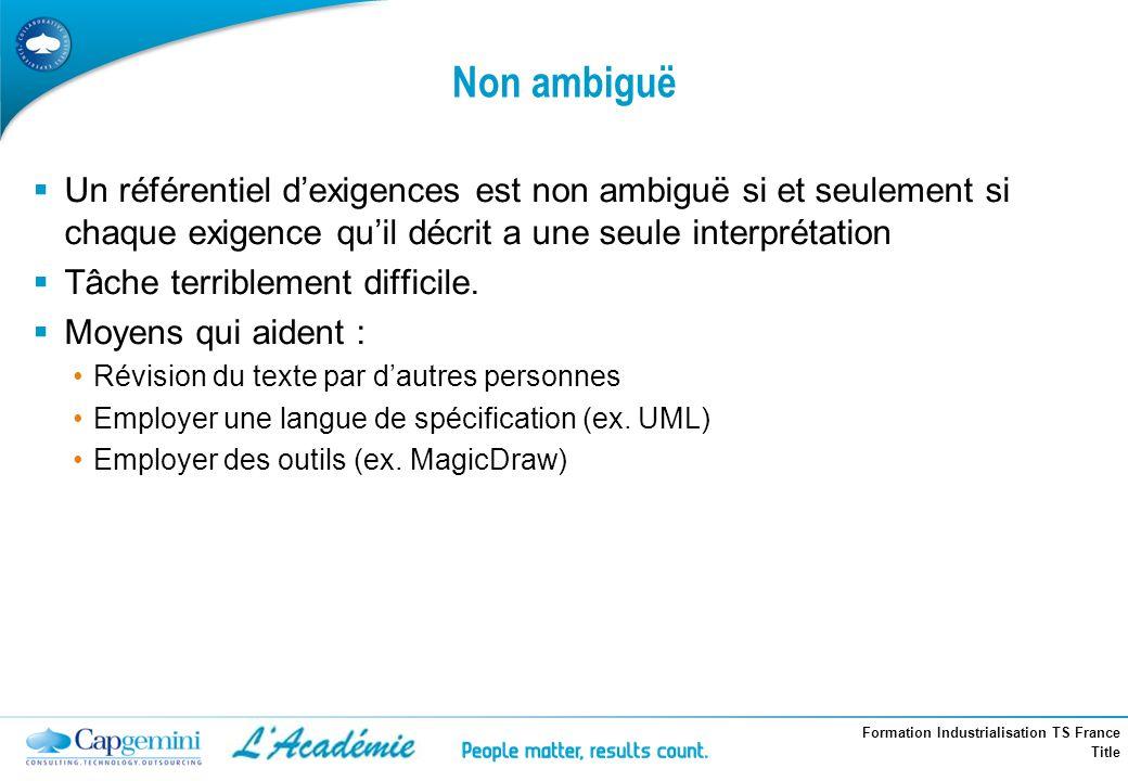 Formation Industrialisation TS France Title Non ambiguë Un référentiel dexigences est non ambiguë si et seulement si chaque exigence quil décrit a une