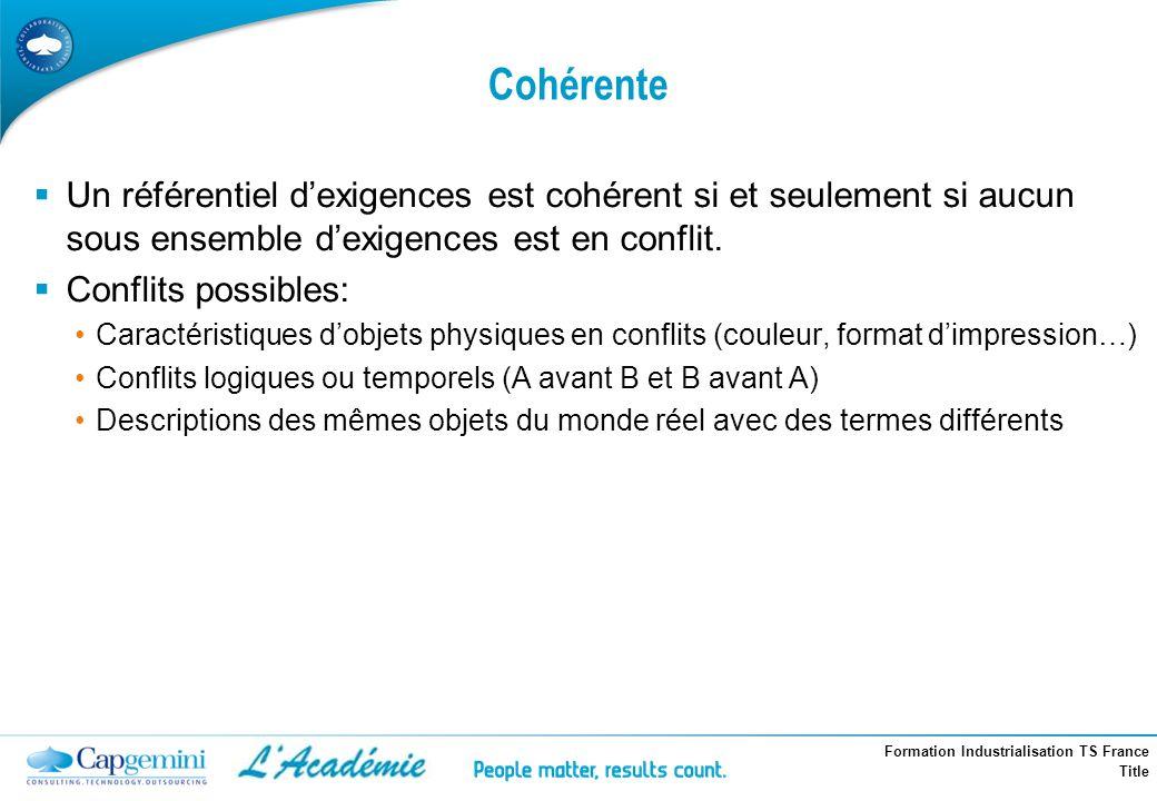 Formation Industrialisation TS France Title Cohérente Un référentiel dexigences est cohérent si et seulement si aucun sous ensemble dexigences est en