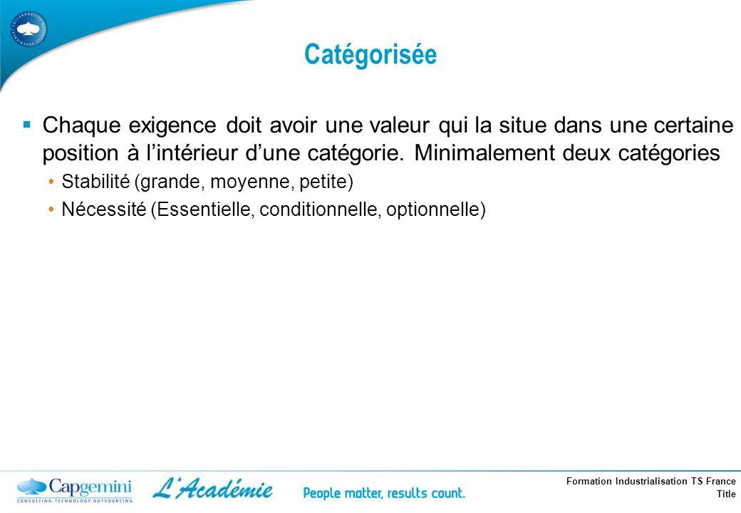 Formation Industrialisation TS France Title Catégorisée Chaque exigence doit avoir une valeur qui la situe dans une certaine position à lintérieur dun