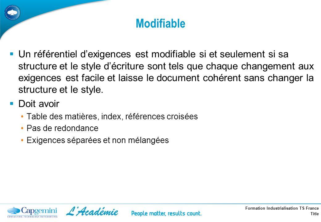 Formation Industrialisation TS France Title Modifiable Un référentiel dexigences est modifiable si et seulement si sa structure et le style décriture