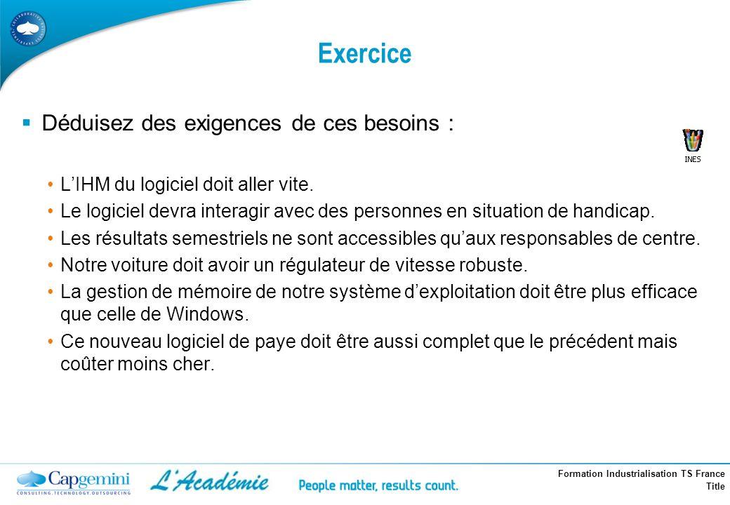Formation Industrialisation TS France Title Exercice Déduisez des exigences de ces besoins : LIHM du logiciel doit aller vite. Le logiciel devra inter