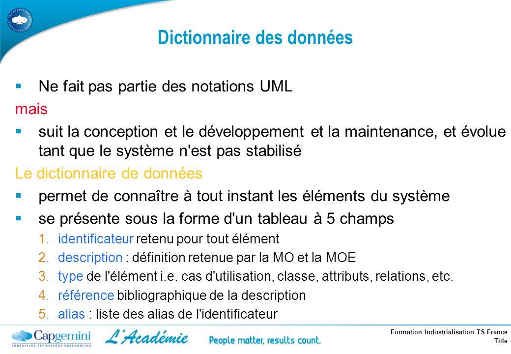 Formation Industrialisation TS France Title Dictionnaire des données Ne fait pas partie des notations UML mais suit la conception et le développement