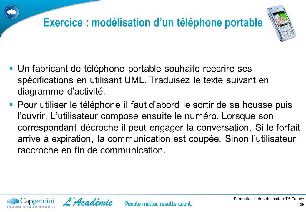 Formation Industrialisation TS France Title Exercice : modélisation dun téléphone portable Un fabricant de téléphone portable souhaite réécrire ses sp