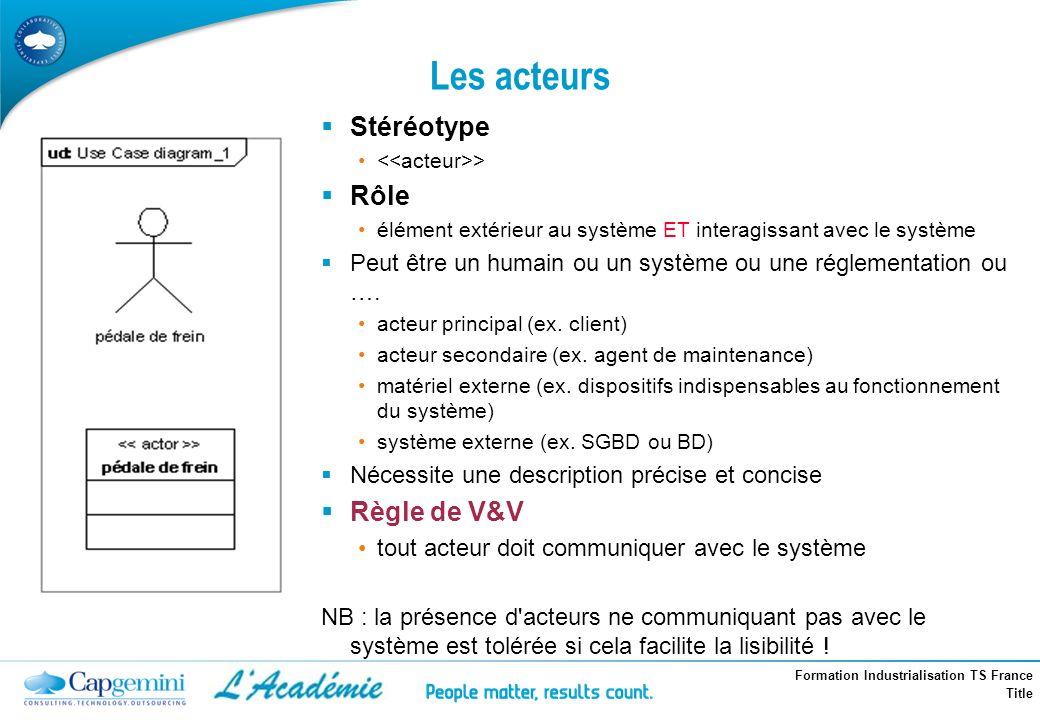 Formation Industrialisation TS France Title Les acteurs Stéréotype > Rôle élément extérieur au système ET interagissant avec le système Peut être un h