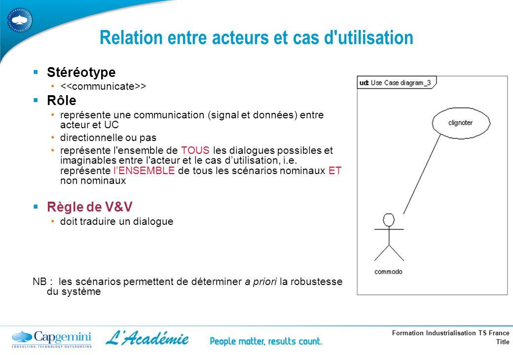 Formation Industrialisation TS France Title Relation entre acteurs et cas d'utilisation Stéréotype > Rôle représente une communication (signal et donn