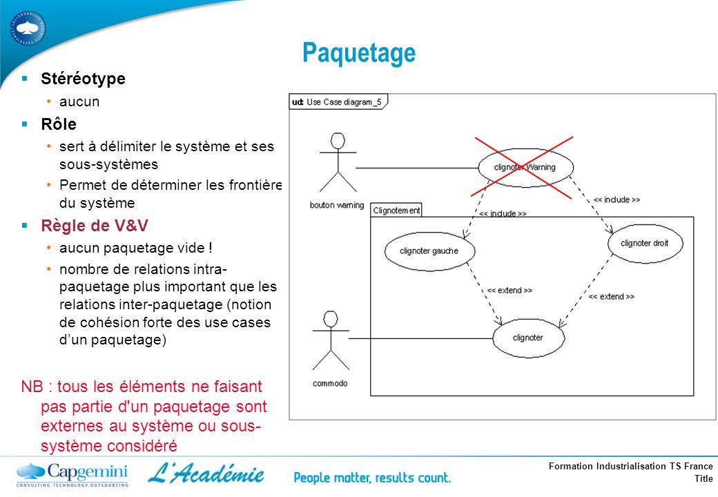 Formation Industrialisation TS France Title Paquetage Stéréotype aucun Rôle sert à délimiter le système et ses sous-systèmes Permet de déterminer les