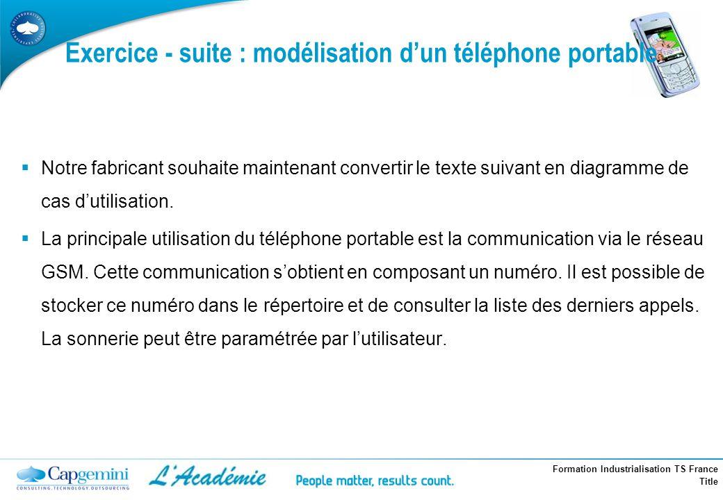 Formation Industrialisation TS France Title Exercice - suite : modélisation dun téléphone portable Notre fabricant souhaite maintenant convertir le te