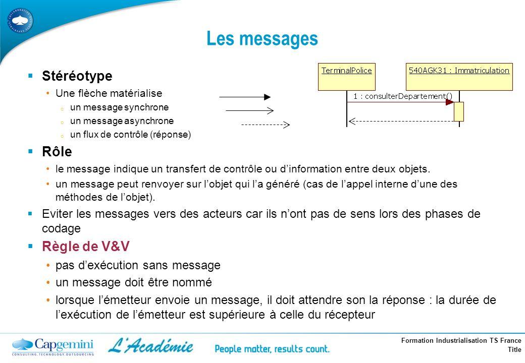 Formation Industrialisation TS France Title Les messages Stéréotype Une flèche matérialise o un message synchrone o un message asynchrone o un flux de