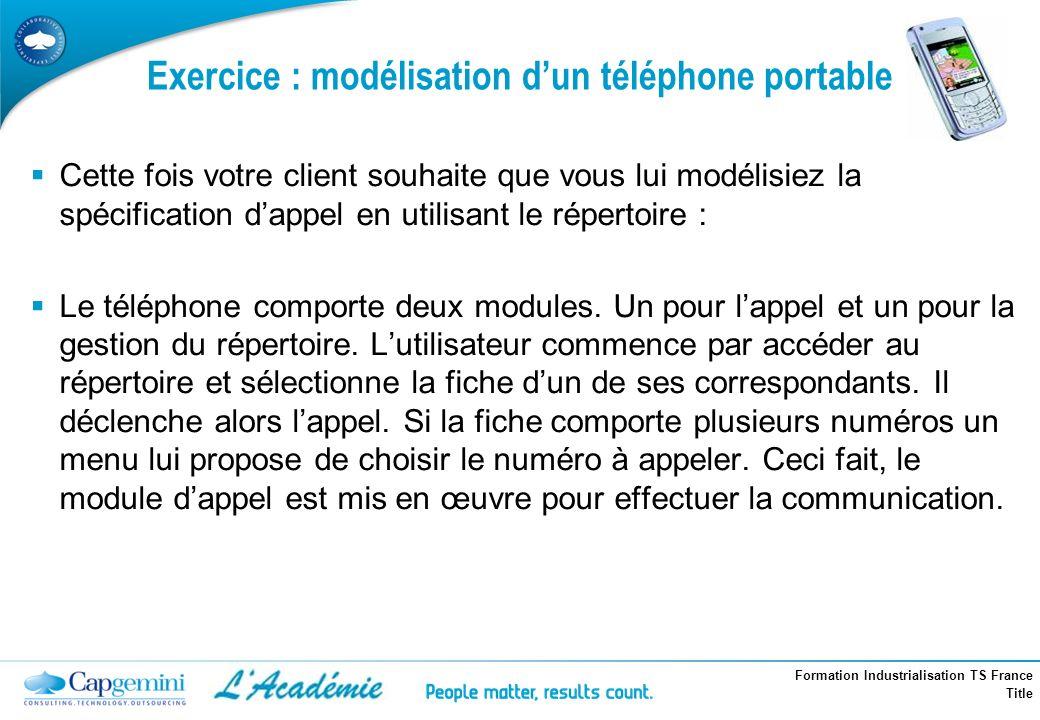 Formation Industrialisation TS France Title Exercice : modélisation dun téléphone portable Cette fois votre client souhaite que vous lui modélisiez la