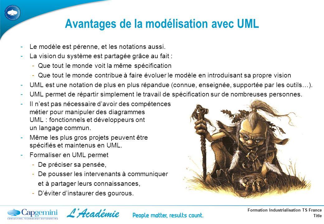 Formation Industrialisation TS France Title -Le modèle est pérenne, et les notations aussi. -La vision du système est partagée grâce au fait : -Que to