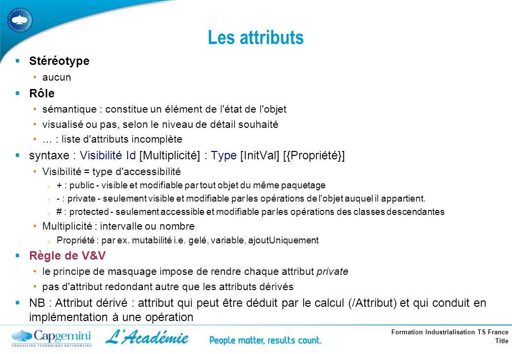 Formation Industrialisation TS France Title Les attributs Stéréotype aucun Rôle sémantique : constitue un élément de l'état de l'objet visualisé ou pa