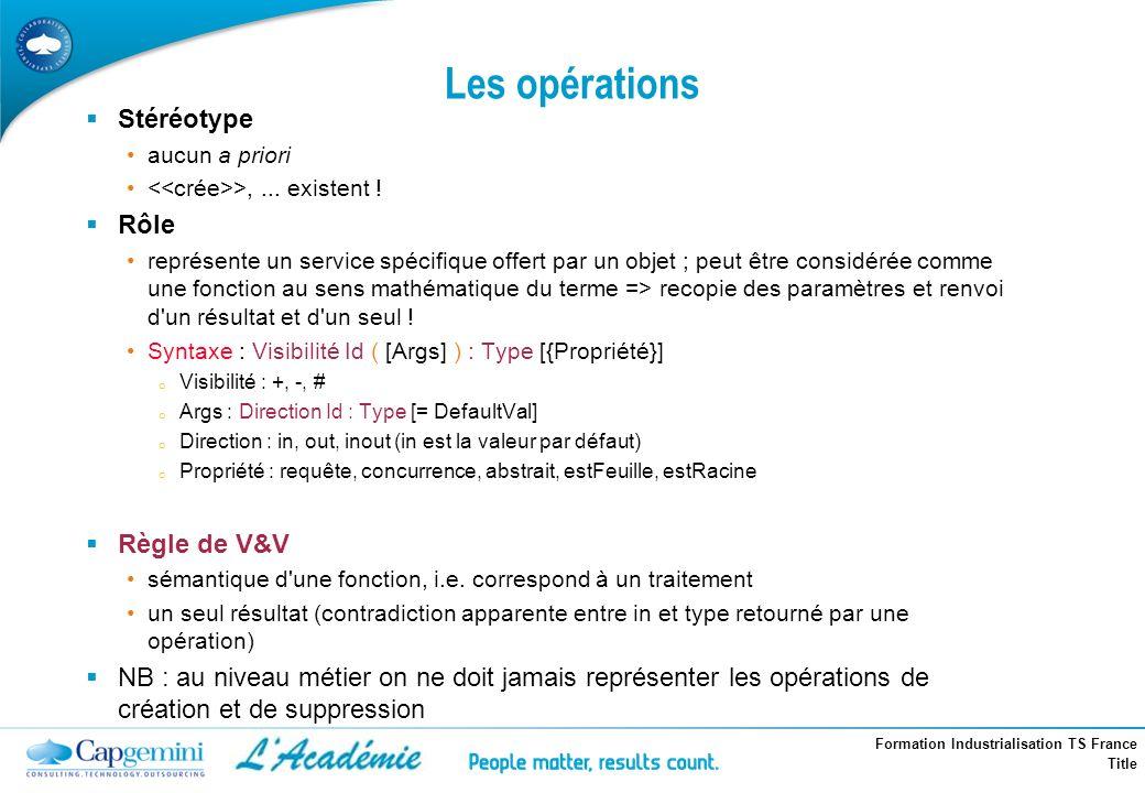 Formation Industrialisation TS France Title Stéréotype aucun a priori >,... existent ! Rôle représente un service spécifique offert par un objet ; peu
