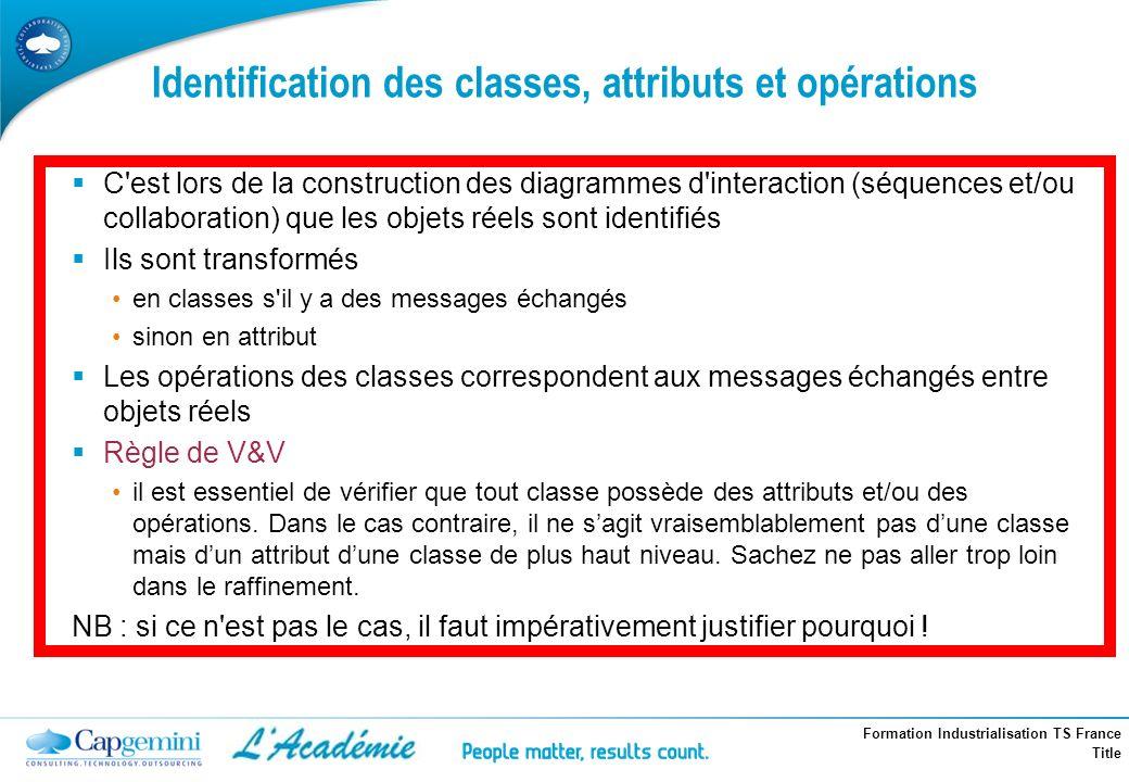 Formation Industrialisation TS France Title Identification des classes, attributs et opérations C'est lors de la construction des diagrammes d'interac