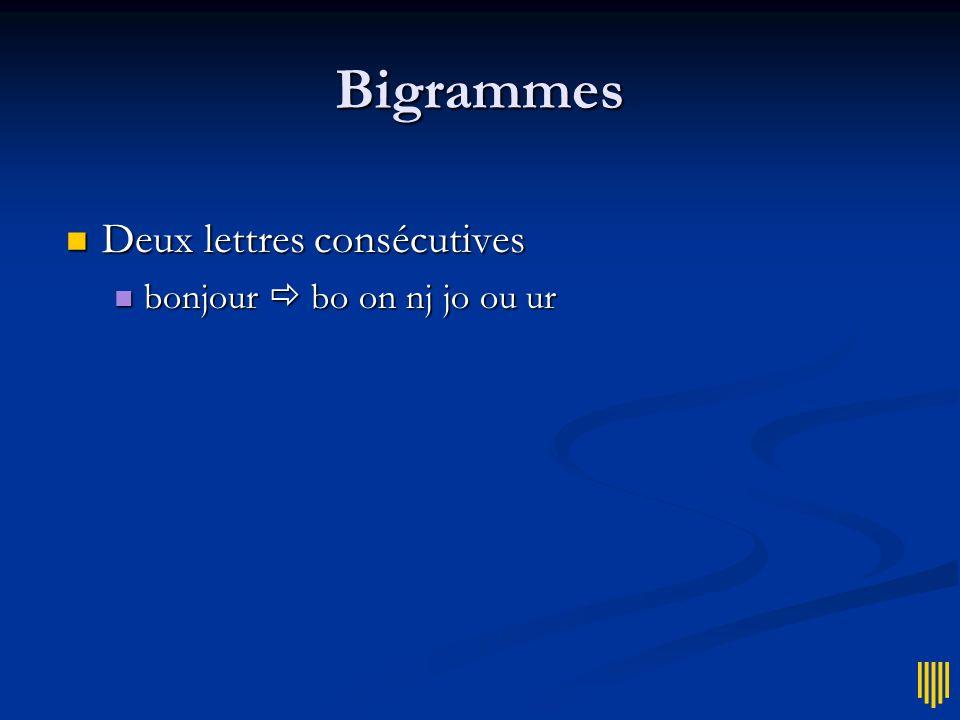 Bigrammes Deux lettres consécutives Deux lettres consécutives bonjour bo on nj jo ou ur bonjour bo on nj jo ou ur