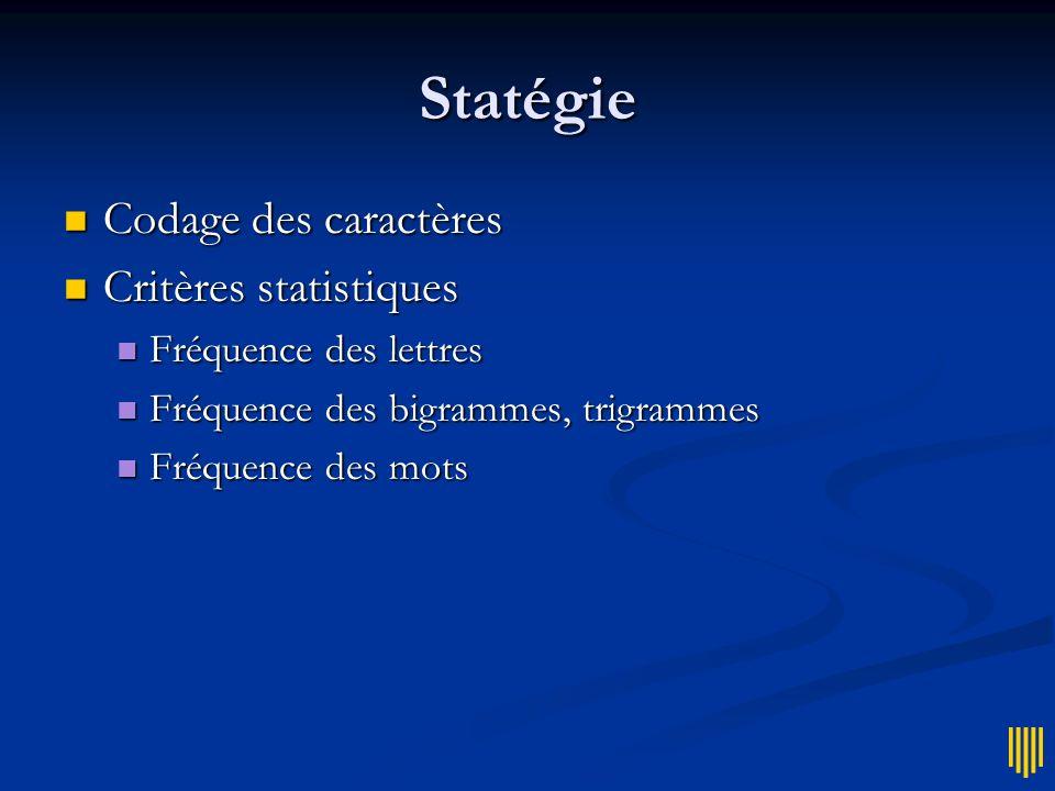 Statégie Codage des caractères Codage des caractères Critères statistiques Critères statistiques Fréquence des lettres Fréquence des lettres Fréquence des bigrammes, trigrammes Fréquence des bigrammes, trigrammes Fréquence des mots Fréquence des mots