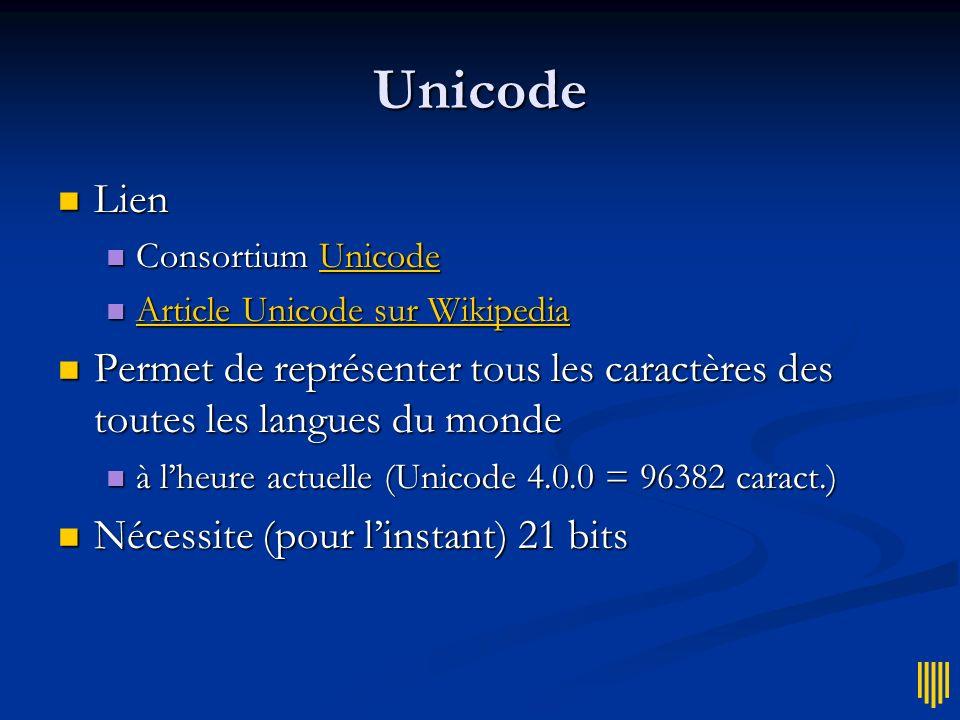 UTF-8 Codage « économique » pour Unicode Codage « économique » pour Unicode Certains caractères sur un octet (8 bits) Certains caractères sur un octet (8 bits) Dautres sur 2 octets (voire plus) Dautres sur 2 octets (voire plus) Exemple Exemple En français, le « é » est codé sur deux octets En français, le « é » est codé sur deux octets si logiciel mal régré, il apparaît comme « é » si logiciel mal régré, il apparaît comme « é »