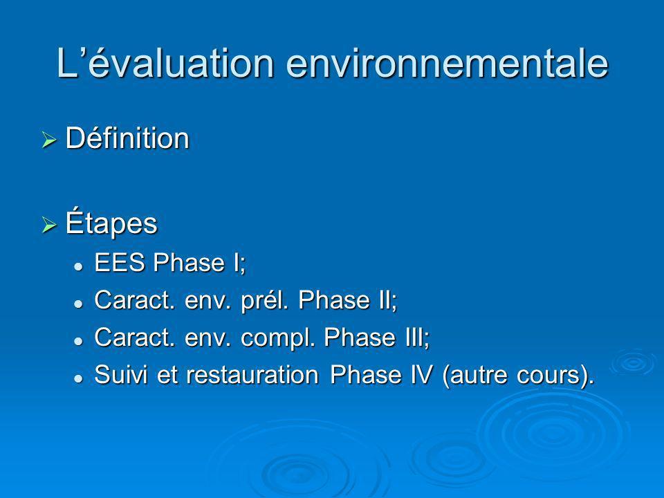 Lévaluation environnementale Définition Définition Étapes Étapes EES Phase I; EES Phase I; Caract. env. prél. Phase II; Caract. env. prél. Phase II; C