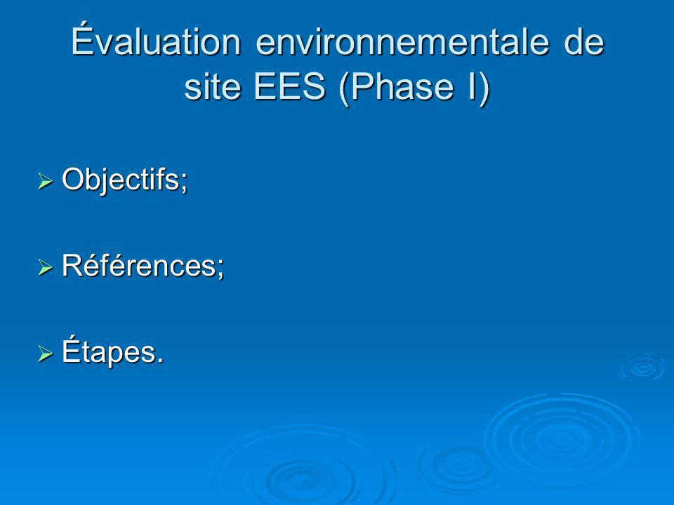 Évaluation environnementale de site EES (Phase I) Objectifs; Objectifs; Références; Références; Étapes. Étapes.