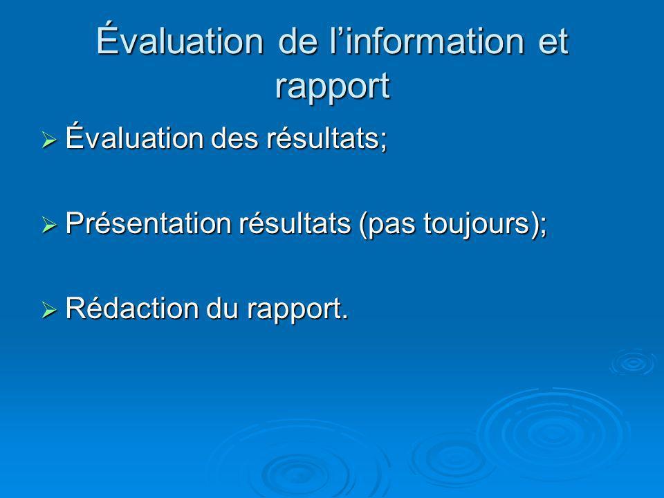 Évaluation de linformation et rapport Évaluation des résultats; Évaluation des résultats; Présentation résultats (pas toujours); Présentation résultat