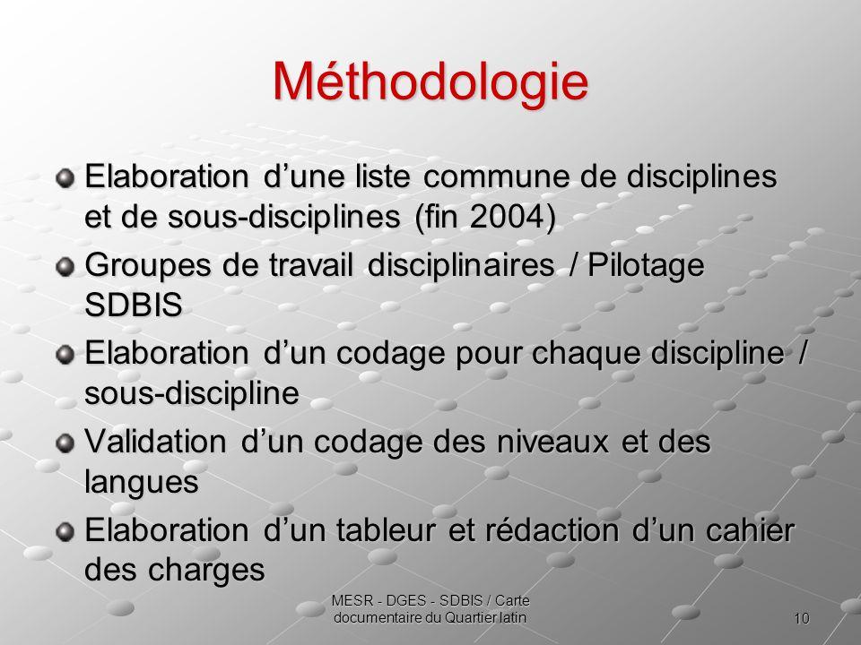 10 MESR - DGES - SDBIS / Carte documentaire du Quartier latin Méthodologie Elaboration dune liste commune de disciplines et de sous-disciplines (fin 2