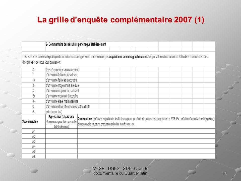 16 MESR - DGES - SDBIS / Carte documentaire du Quartier latin La grille denquête complémentaire 2007 (1)