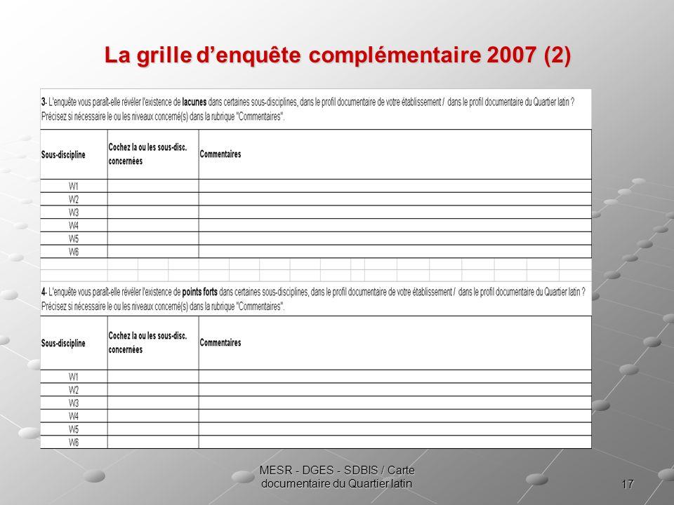 17 MESR - DGES - SDBIS / Carte documentaire du Quartier latin La grille denquête complémentaire 2007 (2)