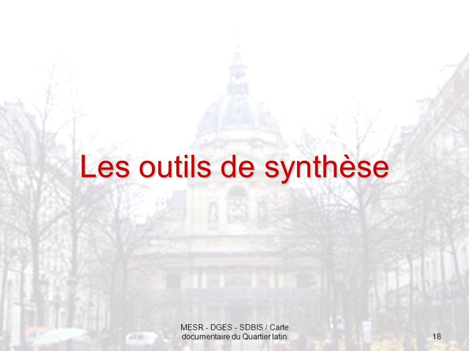 MESR - DGES - SDBIS / Carte documentaire du Quartier latin 18 Les outils de synthèse