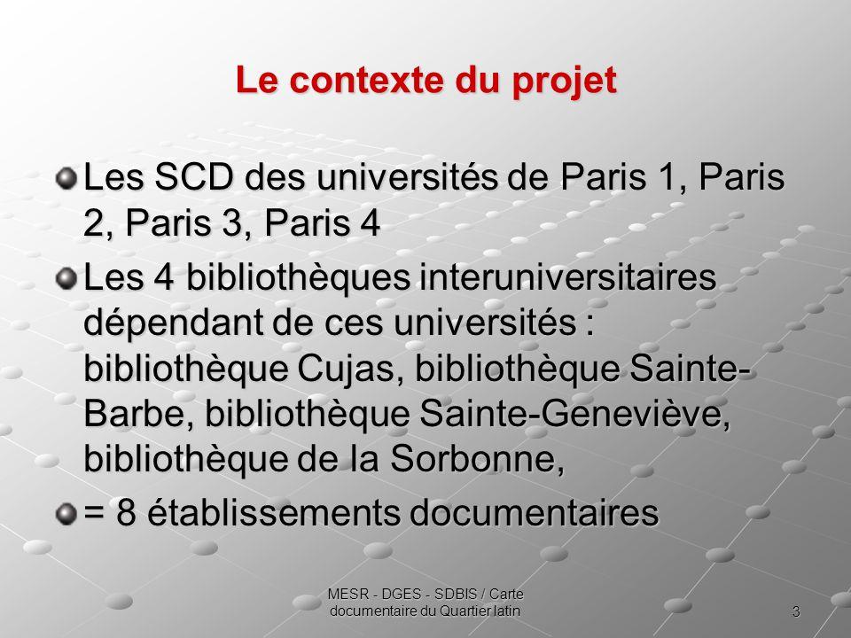 3 MESR - DGES - SDBIS / Carte documentaire du Quartier latin Le contexte du projet Les SCD des universités de Paris 1, Paris 2, Paris 3, Paris 4 Les 4