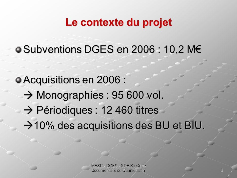 4 MESR - DGES - SDBIS / Carte documentaire du Quartier latin Le contexte du projet Subventions DGES en 2006 : 10,2 M Acquisitions en 2006 : Monographies : 95 600 vol.