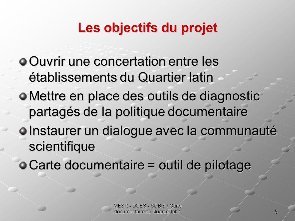 6 MESR - DGES - SDBIS / Carte documentaire du Quartier latin Les objectifs du projet Ouvrir une concertation entre les établissements du Quartier lati