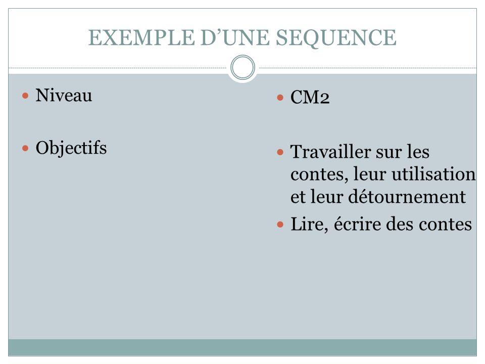 EXEMPLE DUNE SEQUENCE Niveau Objectifs CM2 Travailler sur les contes, leur utilisation et leur détournement Lire, écrire des contes