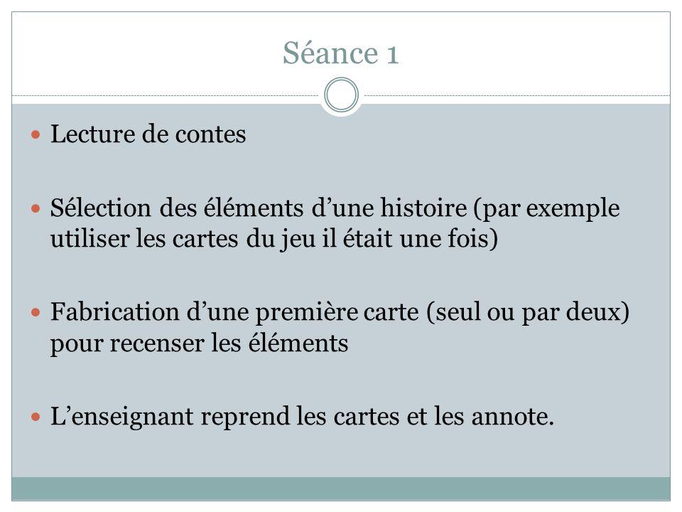 Séance 1 Lecture de contes Sélection des éléments dune histoire (par exemple utiliser les cartes du jeu il était une fois) Fabrication dune première c