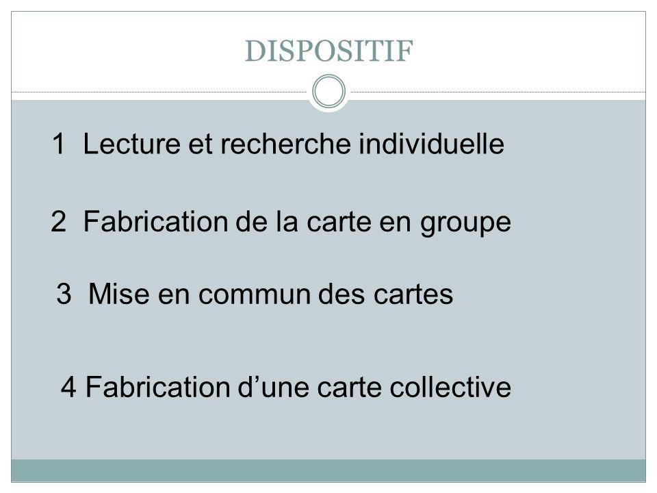 DISPOSITIF 4 Fabrication dune carte collective 1 Lecture et recherche individuelle 2 Fabrication de la carte en groupe 3 Mise en commun des cartes