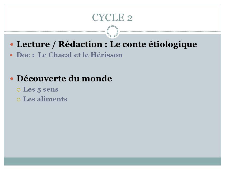 CYCLE 2 Lecture / Rédaction : Le conte étiologique Doc : Le Chacal et le Hérisson Découverte du monde Les 5 sens Les aliments