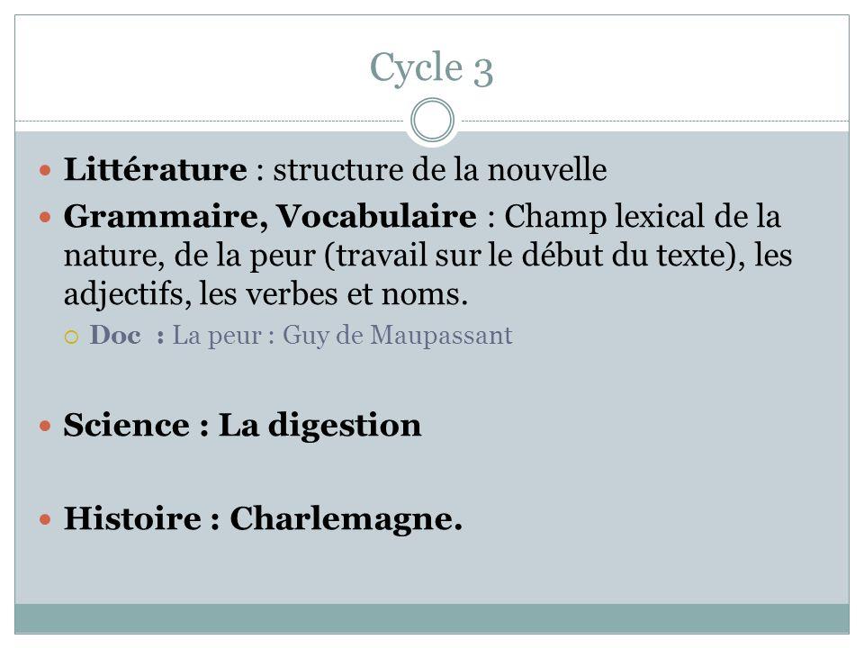 Cycle 3 Littérature : structure de la nouvelle Grammaire, Vocabulaire : Champ lexical de la nature, de la peur (travail sur le début du texte), les ad